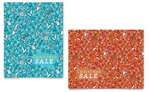 Christmas Confetti Sale Poster Template - Microsoft Office