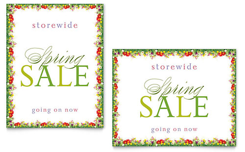 Floral Border Sale Poster - Microsoft Office Template