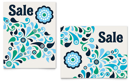 Winter Color Floral Sale Poster Template - Microsoft Office