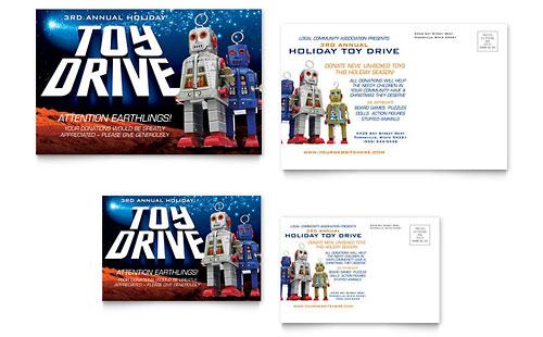 Holiday Toy Drive Fundraiser Postcard - Microsoft Office Template