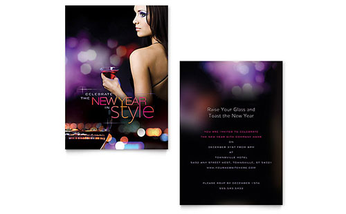 New Year Invitation - Word Template & Publisher Template