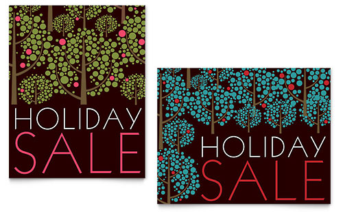 Stylish Holiday Trees Sale Poster - Microsoft Office Template