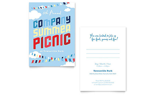Company Summer Picnic Invitation - Word Template & Publisher Template