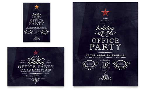 Office Holiday Party Flyer & Ad Template - Microsoft Office
