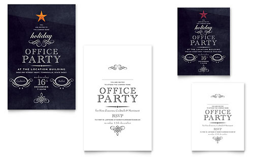 Office Holiday Party Note Card Template Design