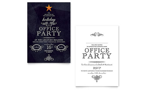 Office Holiday Party Invitation - Word Template & Publisher Template