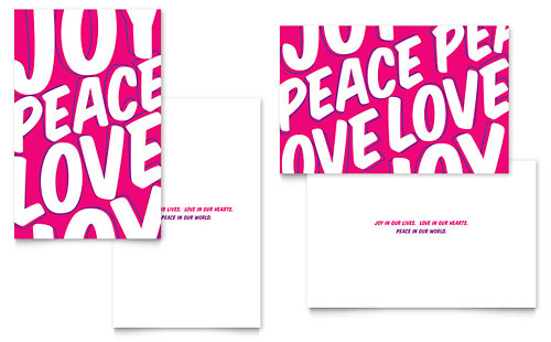 Peace Love Joy Greeting Card - Microsoft Office Template