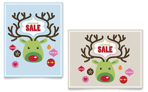 Reindeer Ornaments Sale Poster Template - Microsoft Office