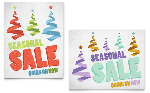 Snow Trees Sale Poster Template - Microsoft Office