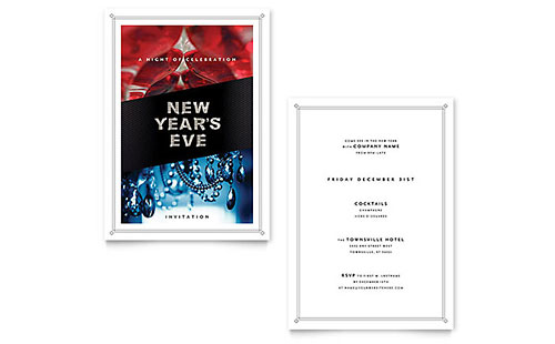 New Year's Eve Invitation - Word Template & Publisher Template
