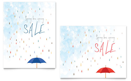 Rainy Day Sale Poster - Word Template & Publisher Template