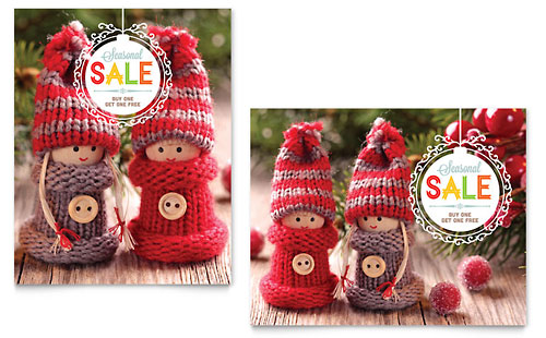 Knitted Dolls Sale Poster Template - Microsoft Office