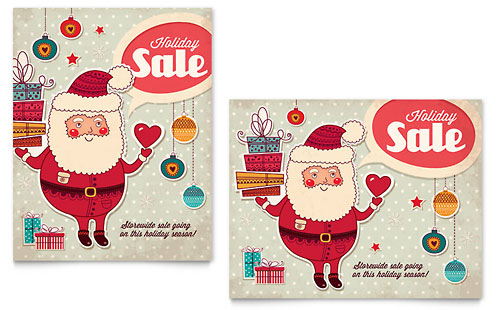 Retro Santa Sale Poster Template - Microsoft Office