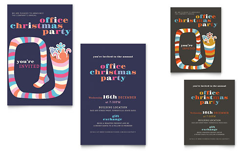 Christmas Party Note Card Template - Microsoft Office