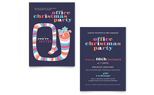 Christmas Party Invitation - Word Template & Publisher Template