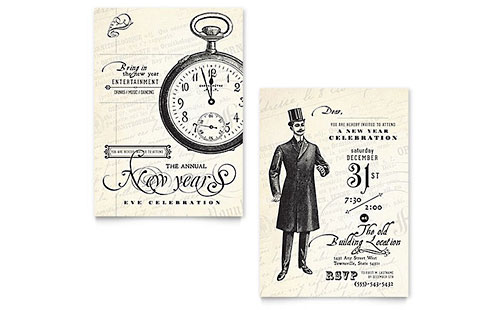 Vintage New Year's Party Invitation - Word Template & Publisher Template
