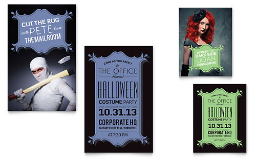 Halloween Costume Party Note Card - Microsoft Office Template