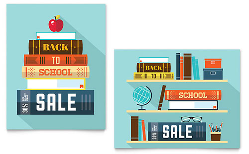 Back to School Books Sale Poster Template - Microsoft Office