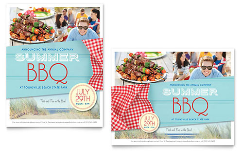Summer BBQ Poster - Microsoft Office Template