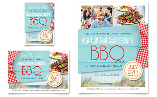 Summer BBQ Flyer & Ad Template Design