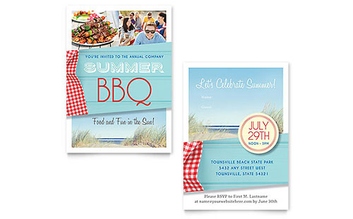 Summer BBQ Invitation - Word Template & Publisher Template