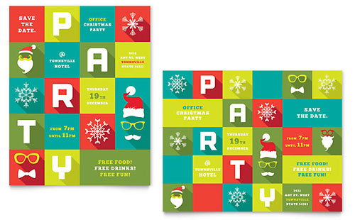 Work Christmas Party Poster - Microsoft Office Template