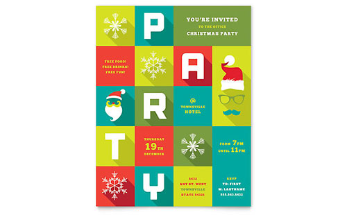 Work Christmas Party Flyer Template - Microsoft Office