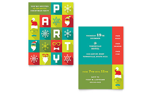 Work Christmas Party Invitation - Word Template & Publisher Template