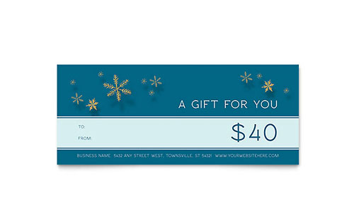Golden Snowflakes Gift Certificate - Word & Publisher