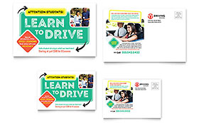 Driving School Postcard Template