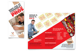 Handyman Services Tri Fold Brochure - Word Template & Publisher Template