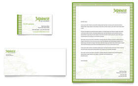 Japanese Restaurant Business Card & Letterhead - Word Template & Publisher Template