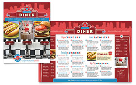 American Diner Restaurant Menu - Word Template & Publisher Template