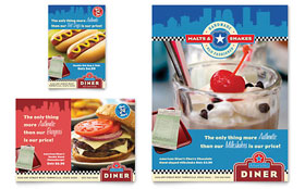American Diner Restaurant Flyer & Ad - Word Template & Publisher Template
