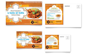 Indian Restaurant Postcard - Word Template & Publisher Template