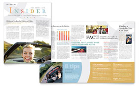 Car Insurance Company Newsletter - Word Template & Publisher Template