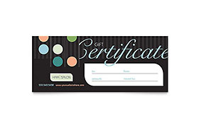 Beauty & Hair Salon - Gift Certificate Template