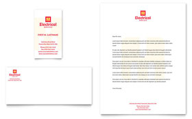 Electrical Services Business Card & Letterhead - Microsoft Office Template