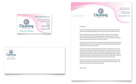 House Cleaning & Maid Services Business Card & Letterhead - Microsoft Office Template