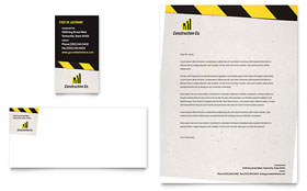 Industrial & Commercial Construction Business Card & Letterhead - Microsoft Office Template