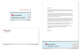 Laundry & Dry Cleaners Business Card & Letterhead - Word Template & Publisher Template