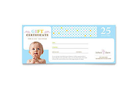 Infant Care & Babysitting - Gift Certificate Template