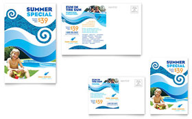 Swimming Pool Cleaning Service Postcard - Microsoft Office Template
