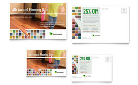 Carpet & Hardwood Flooring Postcard - Word Template & Publisher Template