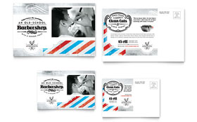 Barbershop Postcard - Microsoft Office Template