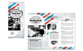 Barbershop Tri Fold Brochure - Word Template & Publisher Template