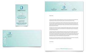 Nail Technician Business Card & Letterhead - Word Template & Publisher Template