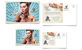 Body Art & Tattoo Artist Postcard - Microsoft Office Template