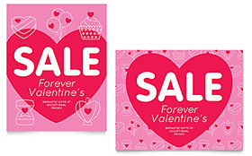 Valentine's Day Sale Poster - Word Template & Publisher Template