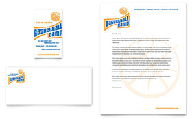 Basketball Sports Camp Business Card & Letterhead - Microsoft Office Template